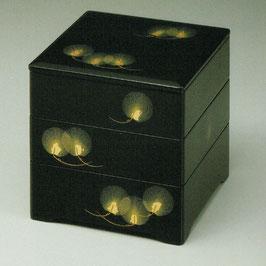 O74-4 黒内 5寸5分 三段重共足 京松