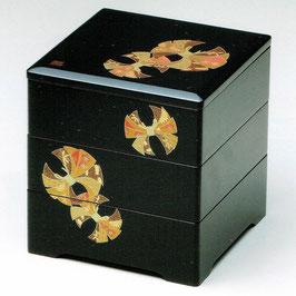 19-75-1 黒 6寸5分 三段重箱 古典のし
