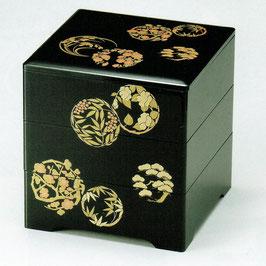 19-74-3 黒 6寸5分 三段重箱 花丸五君子