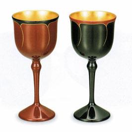 C92-6 ワインペアカップ 花ライン 内金箔