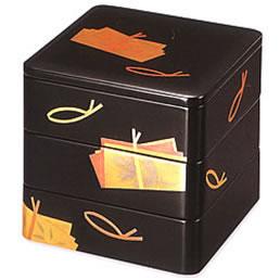 3105-7 色紙結び 黒内朱 三段重箱