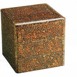 19-76-8 金虫喰塗 6寸5分 三段重箱