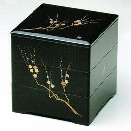 19-74-5 黒 6寸5分 三段重箱 新梅