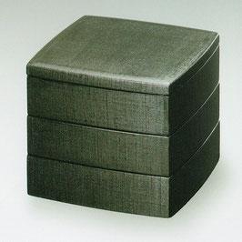 3106-7 能登上布 黒 胴張三段重箱