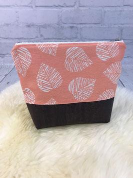 """Kosmetiktasche """"Blätter koralle"""" mit Korkboden"""