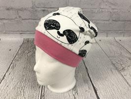 """Mütze """"Panda"""" weiß mit rosafarbenem Bündchen"""