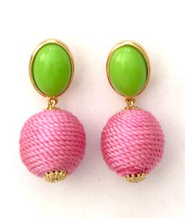 JustWin - Ohrstecker Garnkugel pink/grün