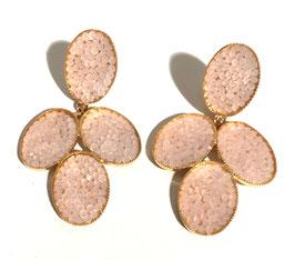 JustWin - Ohrstecker Cluster oval - mit rosé-schillernden Swarovski Steinen