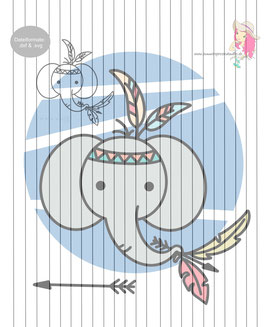 animalFRIENDS_elefant im boho-style {plottervorlage}