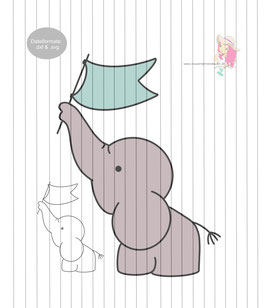 elefant m. flagge {plottervorlage}