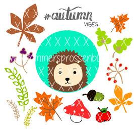 autumnvibes [igel mit allerlei herbstgedöhns] {plottervorlage}