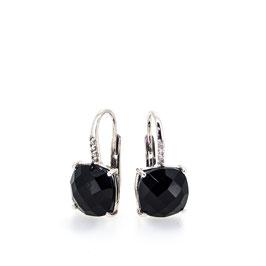 Boucles d'oreilles Onyx 10x10mm avec pavage.