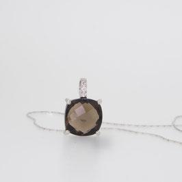 Pendentif Quartz Fumé avec pavage oxyde de zirconium + chaîne argent 18 cm