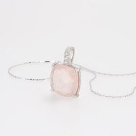 Pendentif Quartz Rose avec pavage oxyde de zirconium + chaîne argent 18 cm