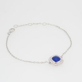 Bracelet Lapis Lazuli avec pavage oxyde de zirconium et 3 anneaux d'attaches.