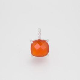 Pendentif Cornaline avec pavage oxyde de zirconium + chaîne argent 18 cm