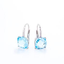 Boucles d'oreilles Topaze Sky Blue (bleue claire) 10x10mm avec pavage.