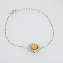 Bracelet Citrine 7x7mm avec pavage oxyde de zirconium et 3 anneaux d'attaches.