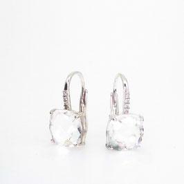 Boucles d'oreilles Quartz Incolore 10x10mm avec pavage.