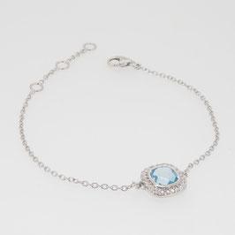 Bracelet Topaze Sky Blue (bleu clair) 7x7 mm avec pavage oxyde de zirconium.