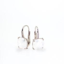 Boucles d'oreilles Pierre de Lune 10x10mm avec pavage.