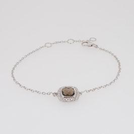 Bracelet Quartz Fumé 7x7 mm avec pavage oxyde de zirconim