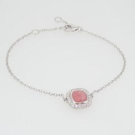 Bracelet Opale Rose avec pavage oxyde de zirconium et 3 anneaux d'attaches.
