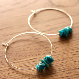 tribal turquoise silver hoops