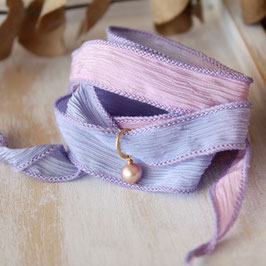 silk ribbon bracelet (light purple pink×gold ringS)