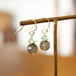 Gray moon earrings