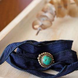 silk ribbon bracelet(navy×silver turquoise)