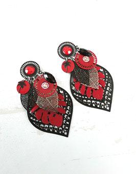 Boucles grand modèle  noir rouge