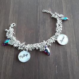 Bracelet perles granitées et pampilles rouges