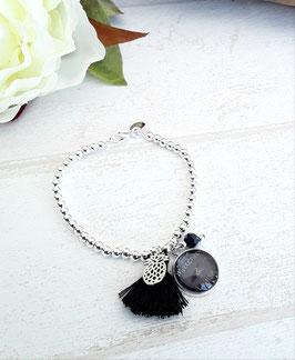 Bracelet perles fin noir