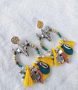 Boucles anneaux buffles jaunes et camel