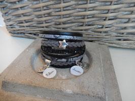 Bracelet personnalisable Multiliens XL Noir Serpent Gris Réf: 100