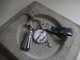 Porte clés Chouette Tissu, Texte au choix