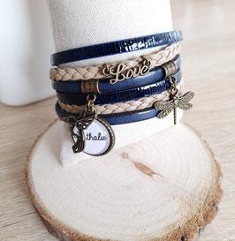 Bracelet 6 liens personnalisable, beige bleu