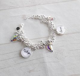 Bracelet perles granitées et pampilles blanches