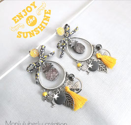 Boucles d'oreilles Ananas jaune
