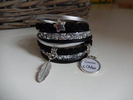 Bracelet personnalisable Multiliens XL Noir, pailleté argent Réf 101