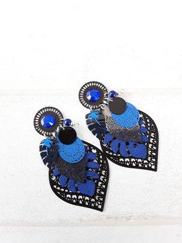 Boucles grand modèle  noir bleu