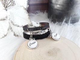 Bracelet 3 rangs gris