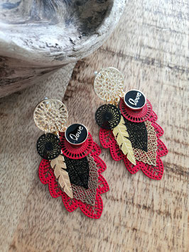 Boucles rouge ms noires or