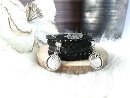 Bracelet multiliens noir plume