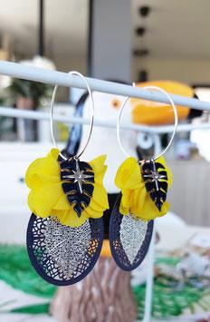 Boucles créoles pompons fleurs jaune et marine