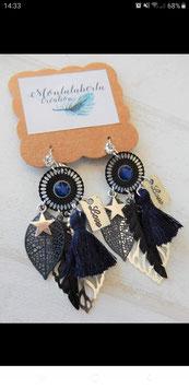 Boucles en bleu nuit et noir