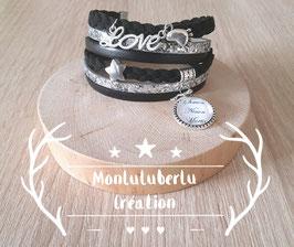 Bracelet liberty 6 liens Pailleté Argent, noir Réf 1200