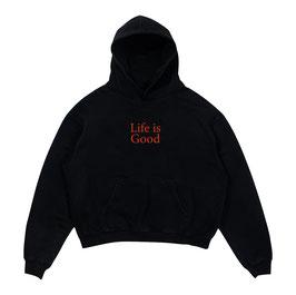 LIFE IS GOOD HOODIE - BLACK