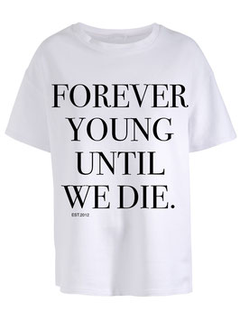 FOREVER YOUNG WHITE TEE - BLACK